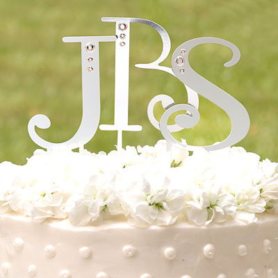 Monograms  Wedding Cakes on Rhinestone Monogram Wedding Cake Topper Heart And   Sign   Wedding