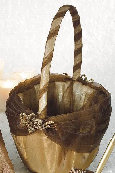 Bronze Elegance Collection Flower Girl Basket - Click Image to Close