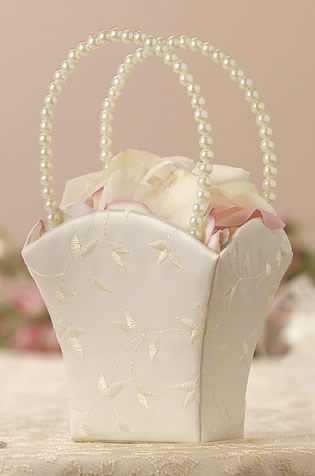 Elegance Collection Flower Girl Basket White or Ivory