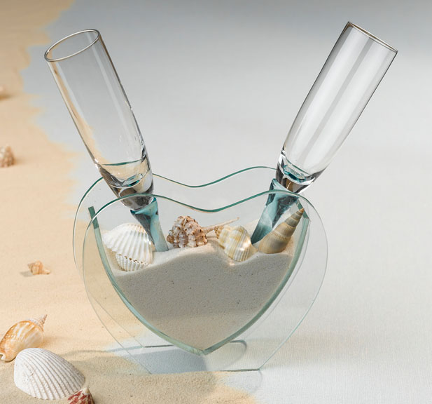Heart Vase With Sand Amp Shells Amp Toasting Glasses Wedding Belle Bridal Wedding Day Accessories