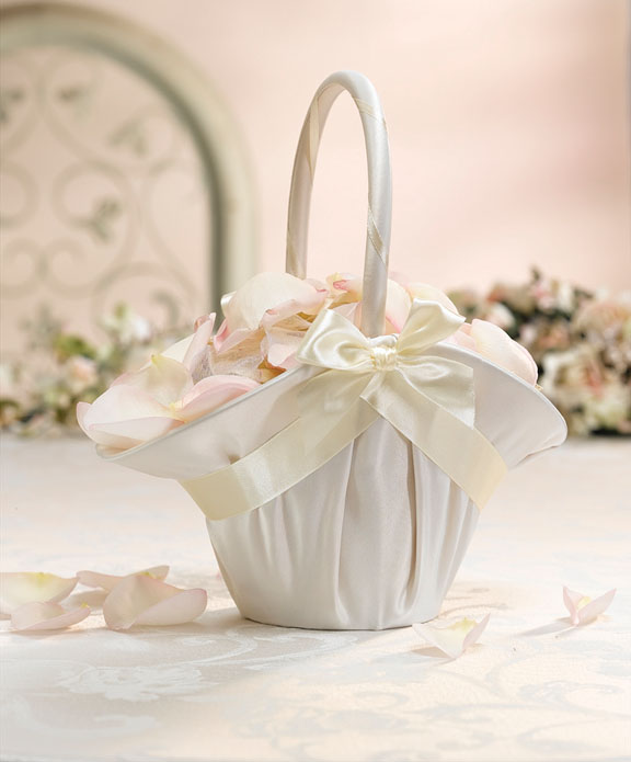 Satin and Bows Flower Girl Basket White or Ivory