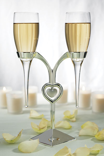 Champagne Flutes with Silver Plated Stand