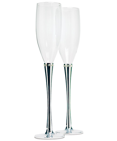 Ring of Crystals Champagne Glasses