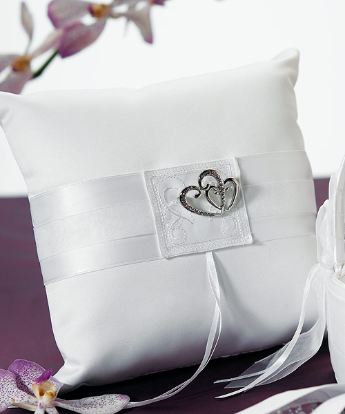 Double Heart Ring Pillow White or Ivory