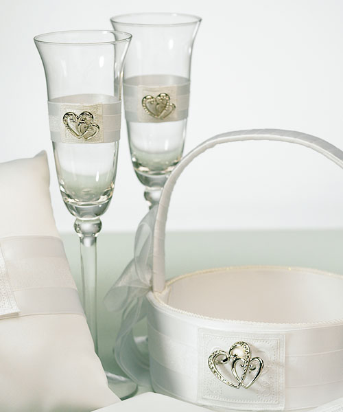Double Heart Toasting Set White or Ivory