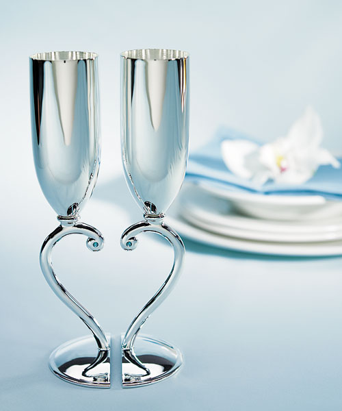 Interlocking Heart Stem Wedding Toasting Goblets