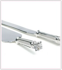 Silver Plated & Diamond Wedding Cake Serving Set