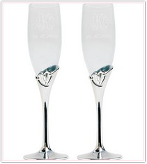 Heart Design Toasting Flutes