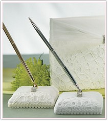 Bridal Tapestry Satin Wrapped Pen Set