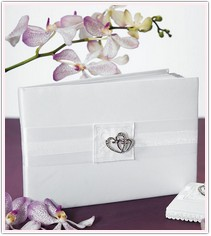 Double Heart Guest Book White or Ivory
