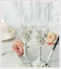 White Sculptured Tiger Lilies Toasting Set